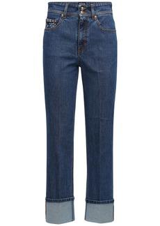 Versace Stretch Cotton Denim Straight Leg Jeans