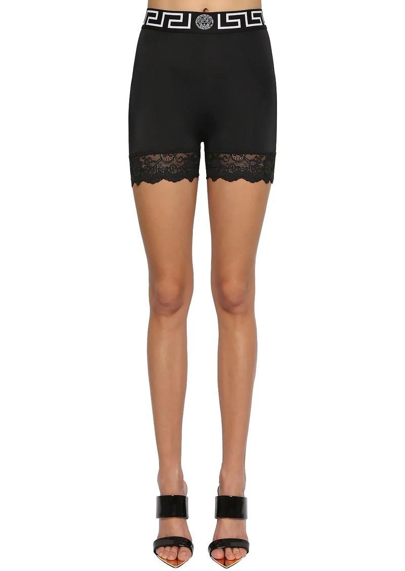 Versace Stretch Lycra Cycling Shorts W/lace