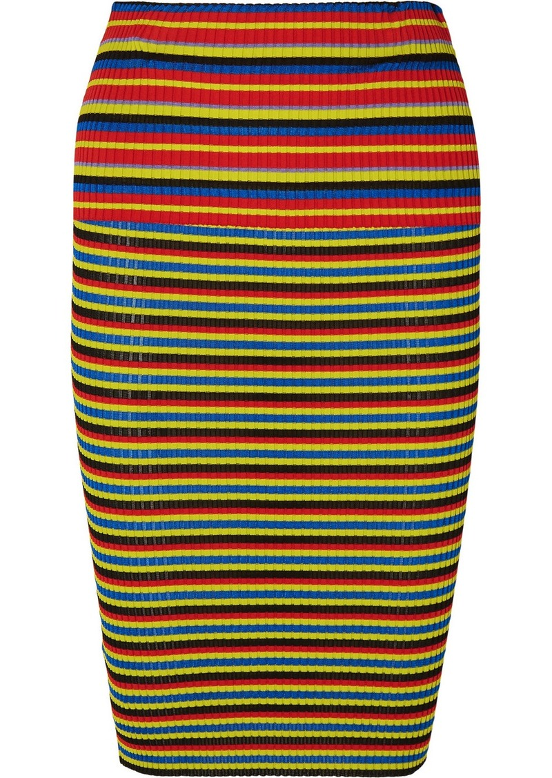 Versace Striped Ribbed-knit Pencil Skirt