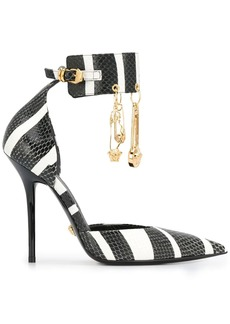 Versace striped safety pin pumps