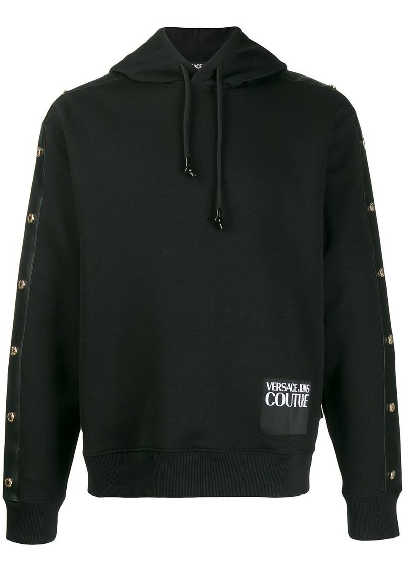 Versace stud detail logo patch hoodie