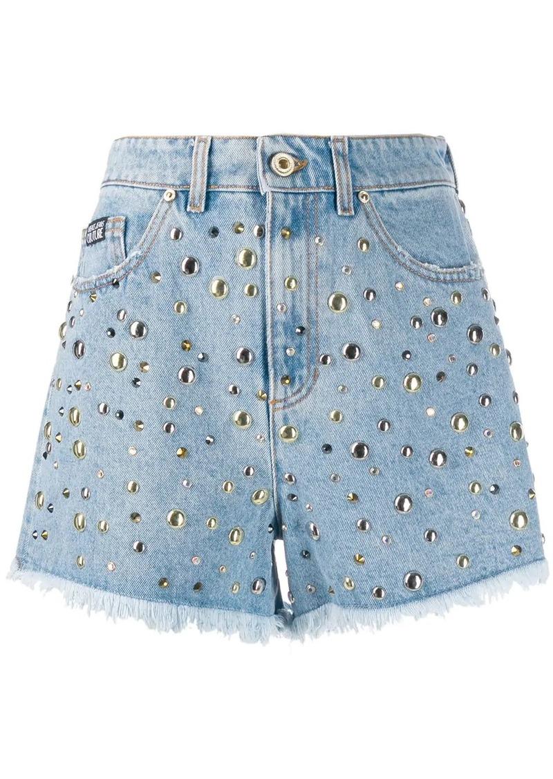 Versace studded denim shorts