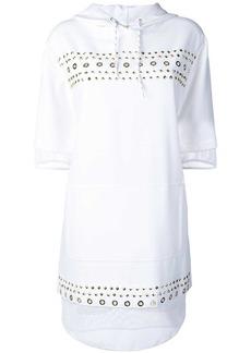Versace studded fishnet hooded dress