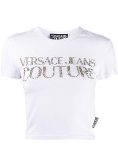 Versace Studded Logo cropped T-shirt