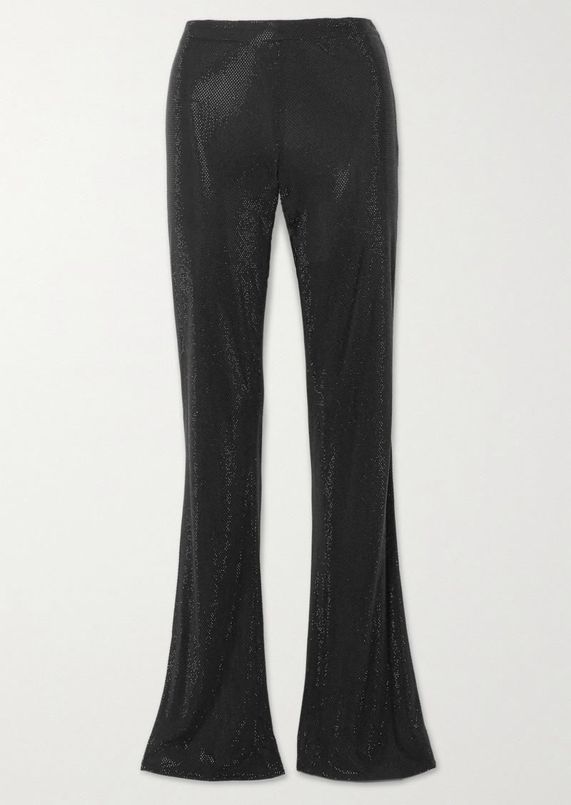 Versace Swarovski Crystal-embellished Stretch-crepe Flared Pants