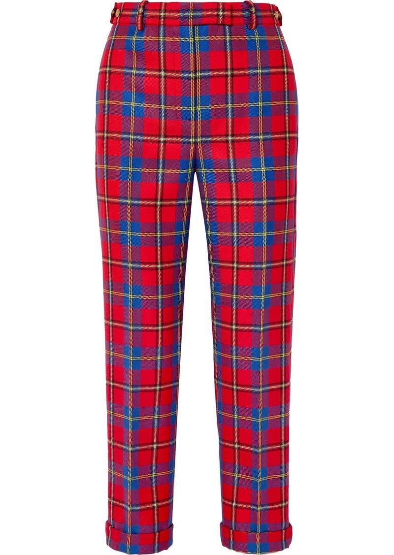 Versace Tartan Wool Straight-leg Pants