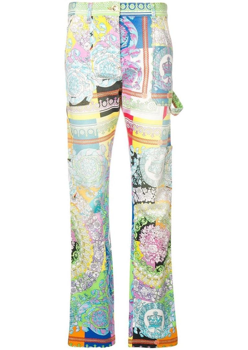 Versace Technicolor Baroque print jeans