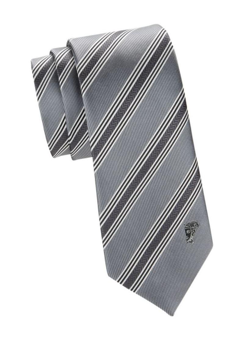 Versace Textured Diagonal Stripe Silk Tie
