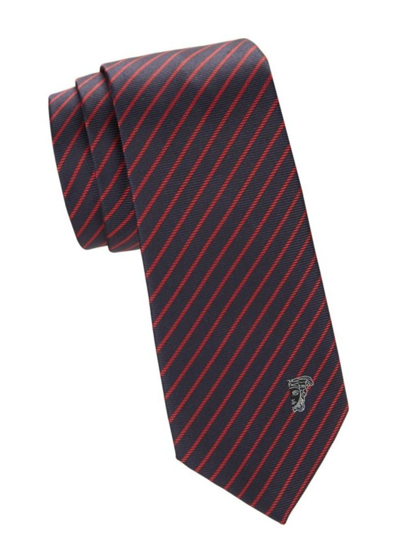 Versace Textured Diagonal Stripe Silk Tie