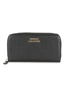 Versace Textured Leather Zip-Around Wallet