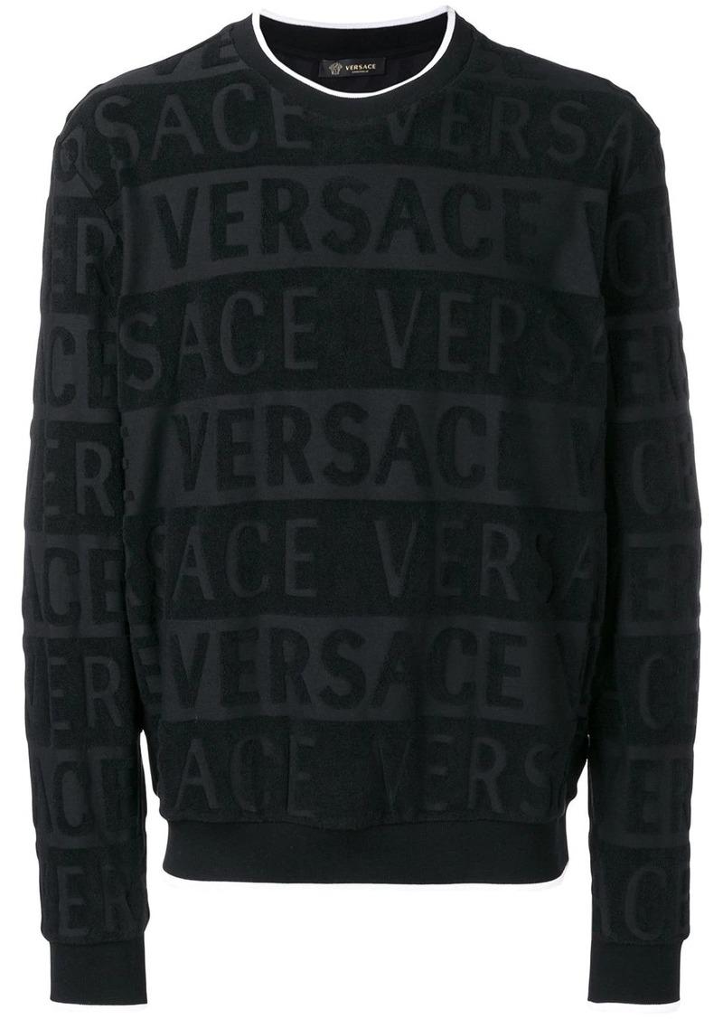 Versace textured logo print sweatshirt