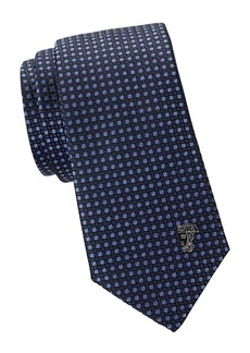 Versace Textured Silk Check Tie