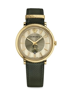 Versace The Manifesto Edition Leather Strap Watch