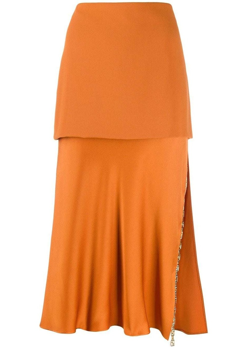 Versace tiered Greek Key skirt