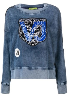 Versace tiger patch applique washed sweatshirt