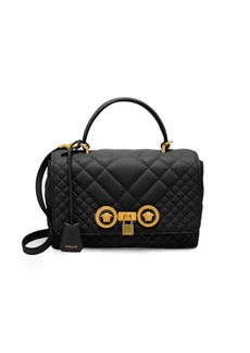Versace Top Handle Quilted Leather Bag