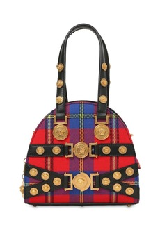 Versace Tribute Plaid & Leather Top Handle Bag