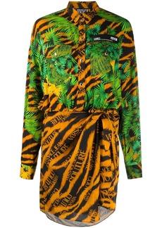 Versace tropical animal print shirt dress