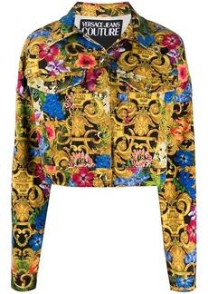 Versace tropical baroque-print denim jacket