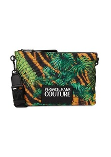 Versace Tropical-Print Logo Patch Crossbody Bag
