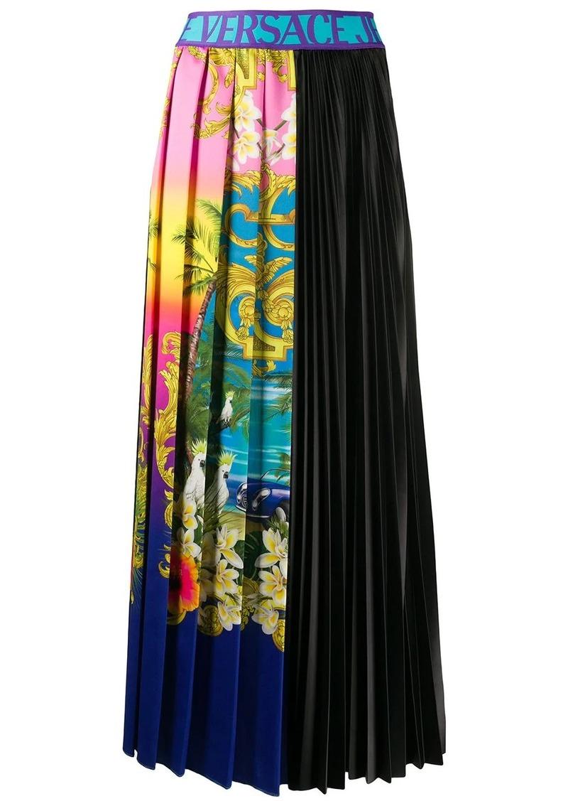 Versace tropical-print pleated midi skirt