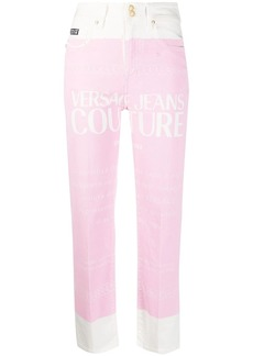 Versace two-tone cropped jeans