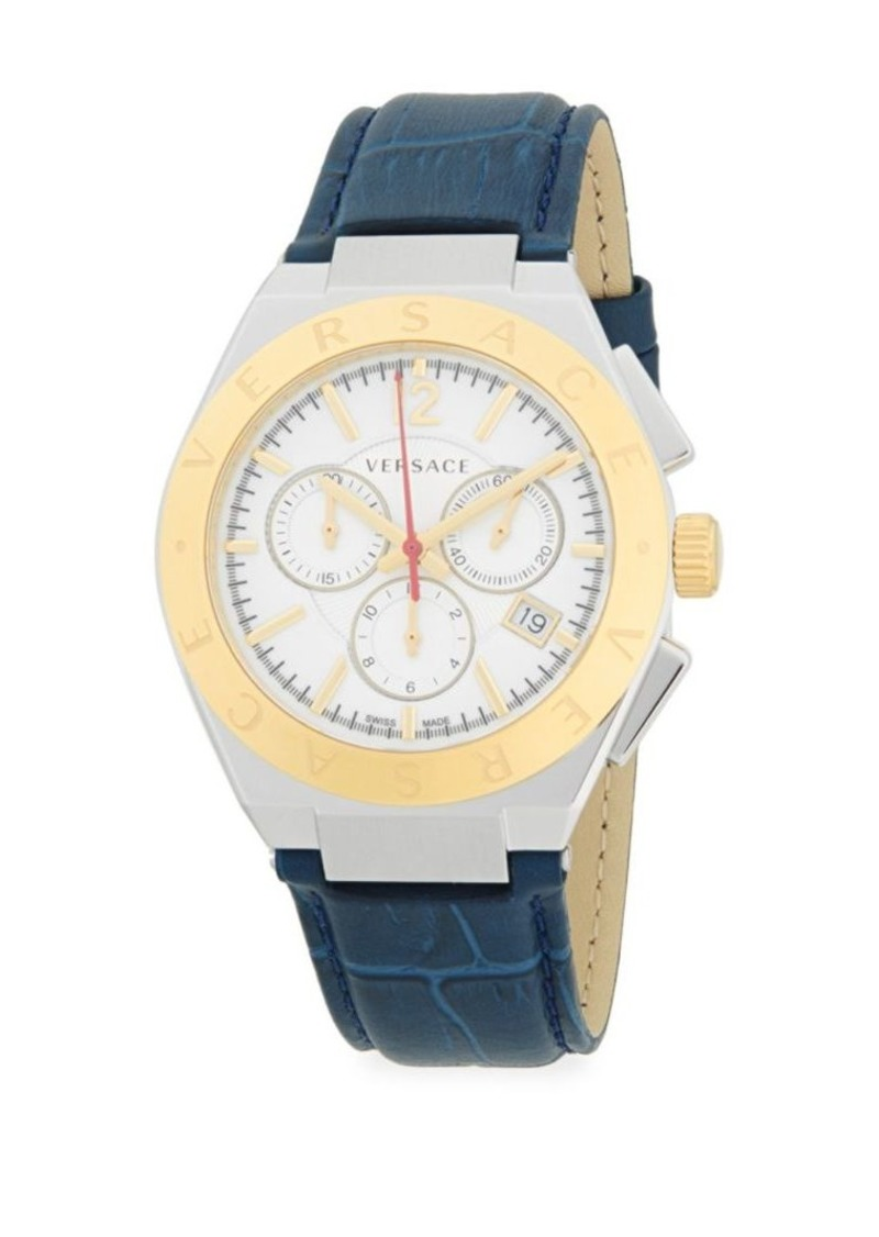 Versace Two-Tone Leather-Strap Stainless Steel Analog Watch