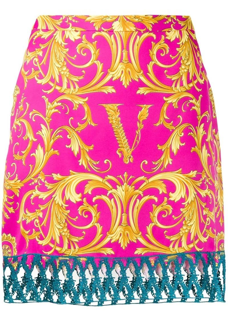 Versace V Barocco print straight skirt