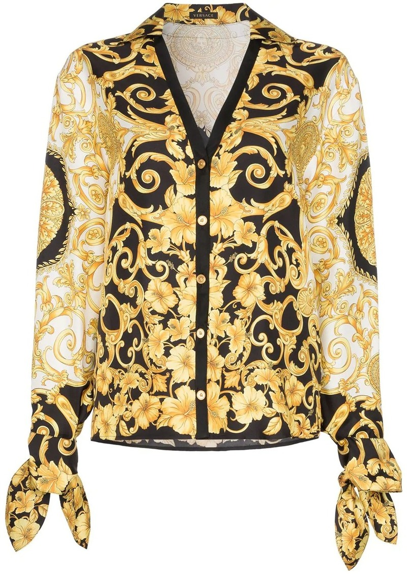 Versace V-neck Baroque-print blouse