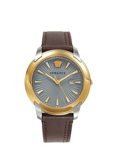 Versace V-Urban Stainless Steel & Leather Strap Watch
