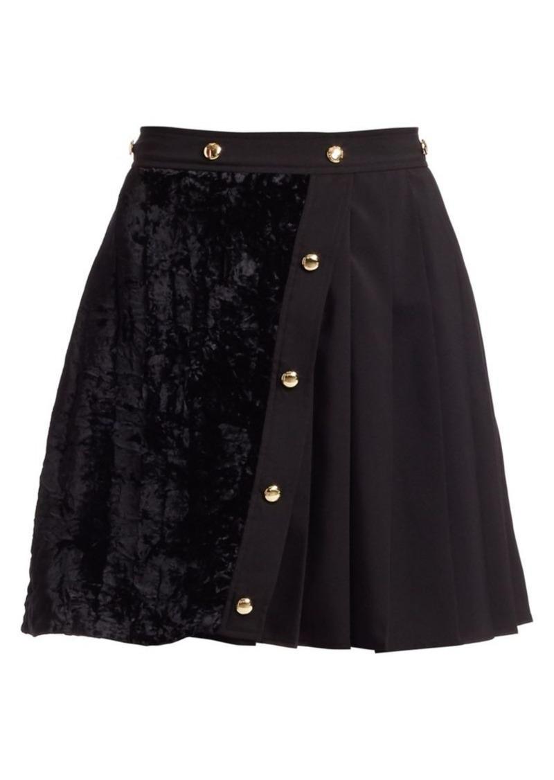 Versace Velvet Pleat Button A-Line Skirt