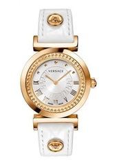 Versace 35mm Vanity Round Watch w/ Leather Strap