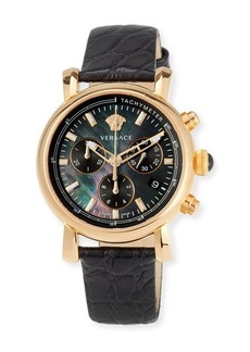Versace 38mm Day Glam Chronograph Watch w/ Leather Strap