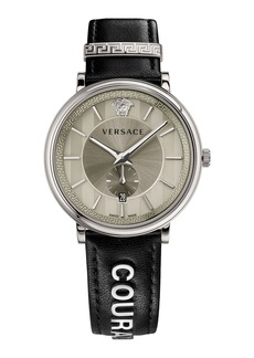 Versace 42mm Manifesto Watch with Black COURAGE Leather Strap
