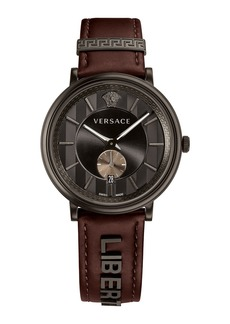 Versace 42mm Manifesto Watch with Brown LIBERTY Leather Strap