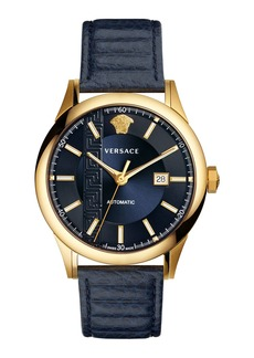 Versace 44mm Aiakos Men's Automatic Watch with Blue Leather Strap