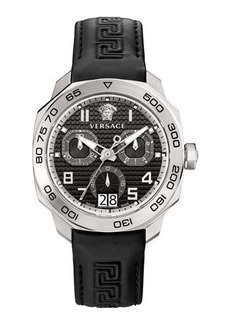 Versace 44mm Men's Dylos Chronograph Watch w/ Leather Strap