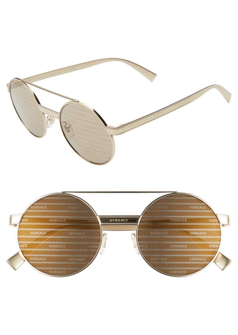 Versace 52mm Mirrored Round Sunglasses
