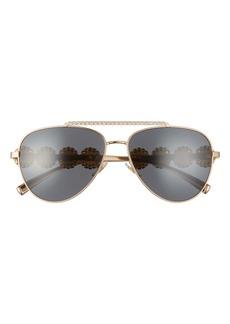 Versace 59mm Pilot Crystal Medusa Head Sunglasses