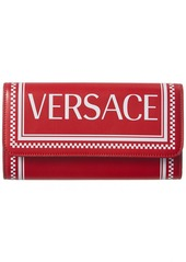 Versace 90'S Vintage Logo Leather Continental Wallet