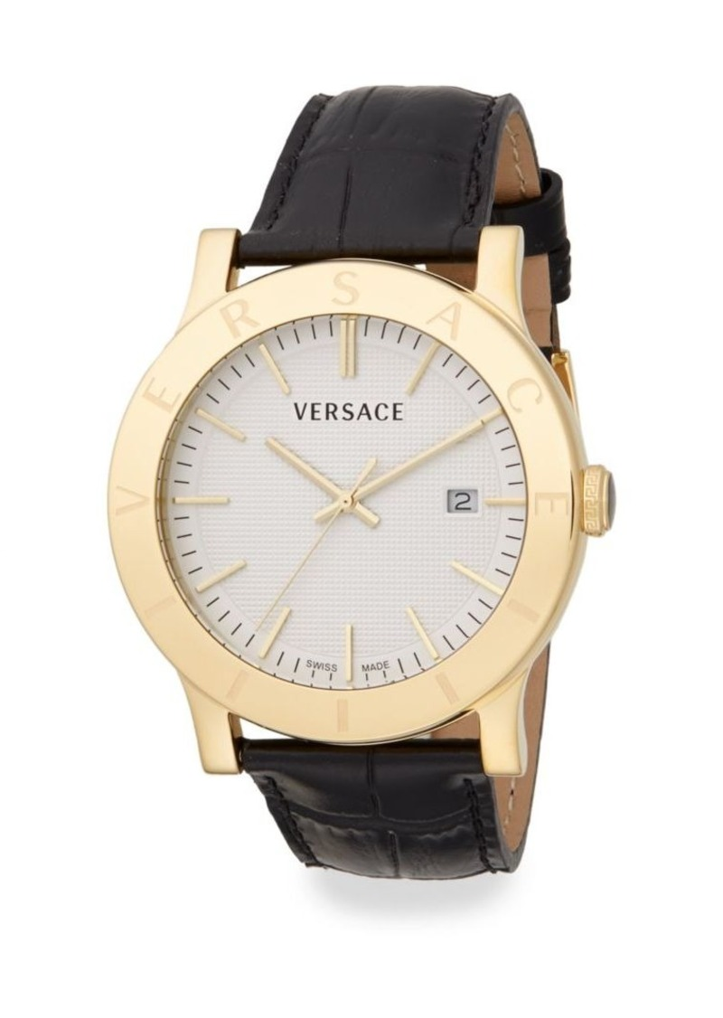 Versace Acron Engraved Goldtone Stainless Steel & Embossed Leather Watch
