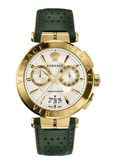 Versace Aion Chronograph Watch with Green Leather Strap