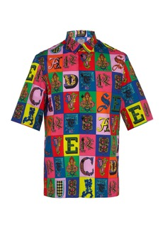Versace Alphabet-print cotton shirt