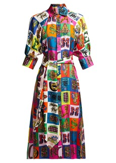 Versace Alphabet-print silk shirtdress