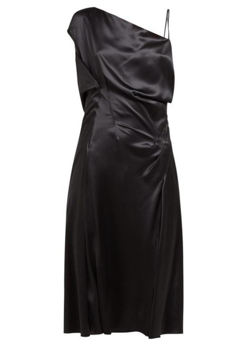 Versace Asymmetric silk-satin slip dress