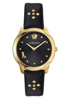 Versace Audrey V Leather Strap Watch, 38mm