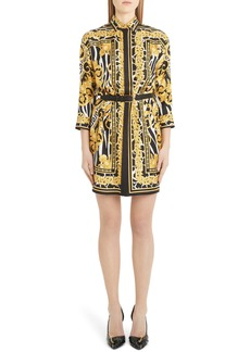 Versace Barco Print Belted Silk Shirtdress