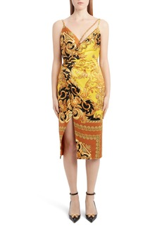 Versace Barco Print Chain Detail Silk Dress