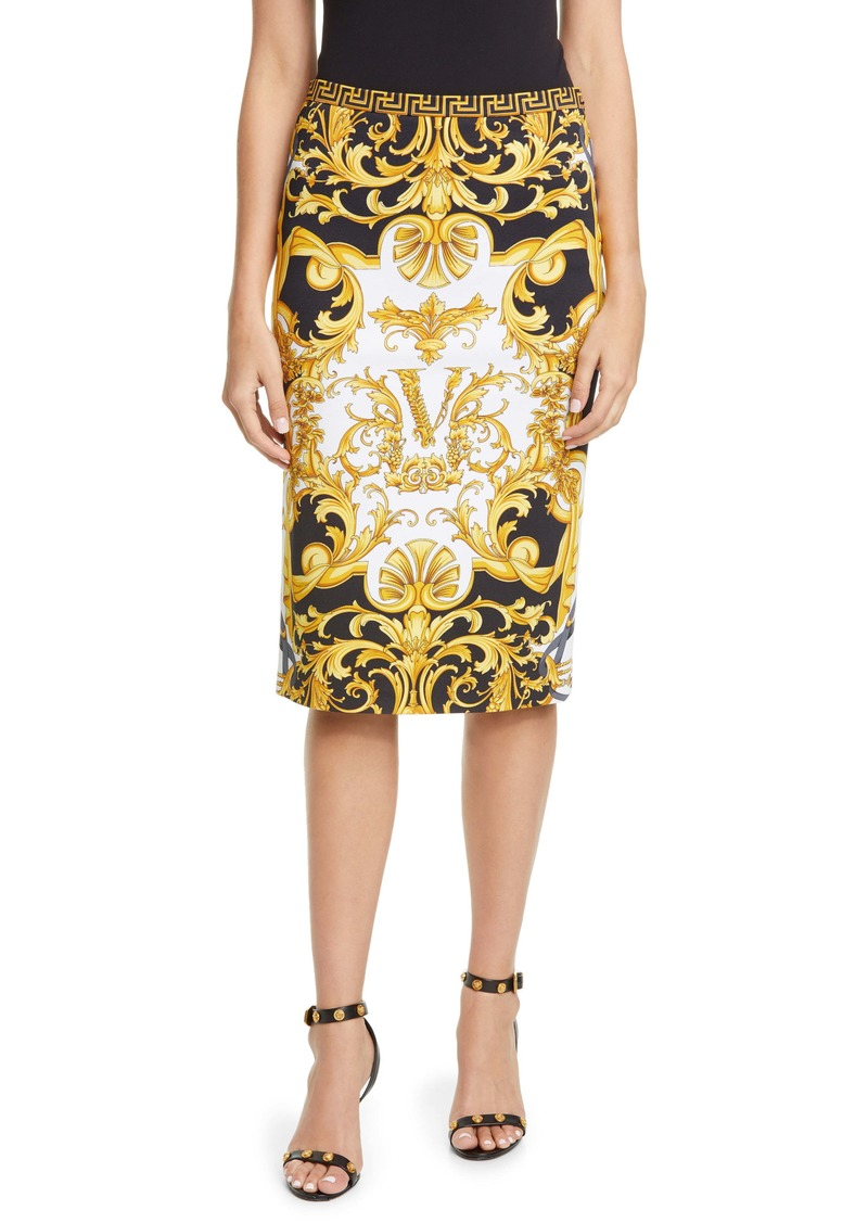 Versace Barco Print Pencil Skirt