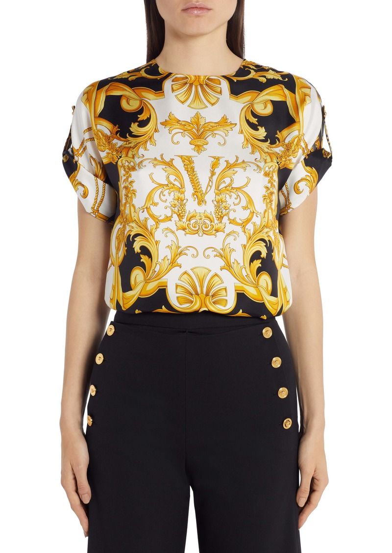 Versace Barco Print Roll Sleeve Top